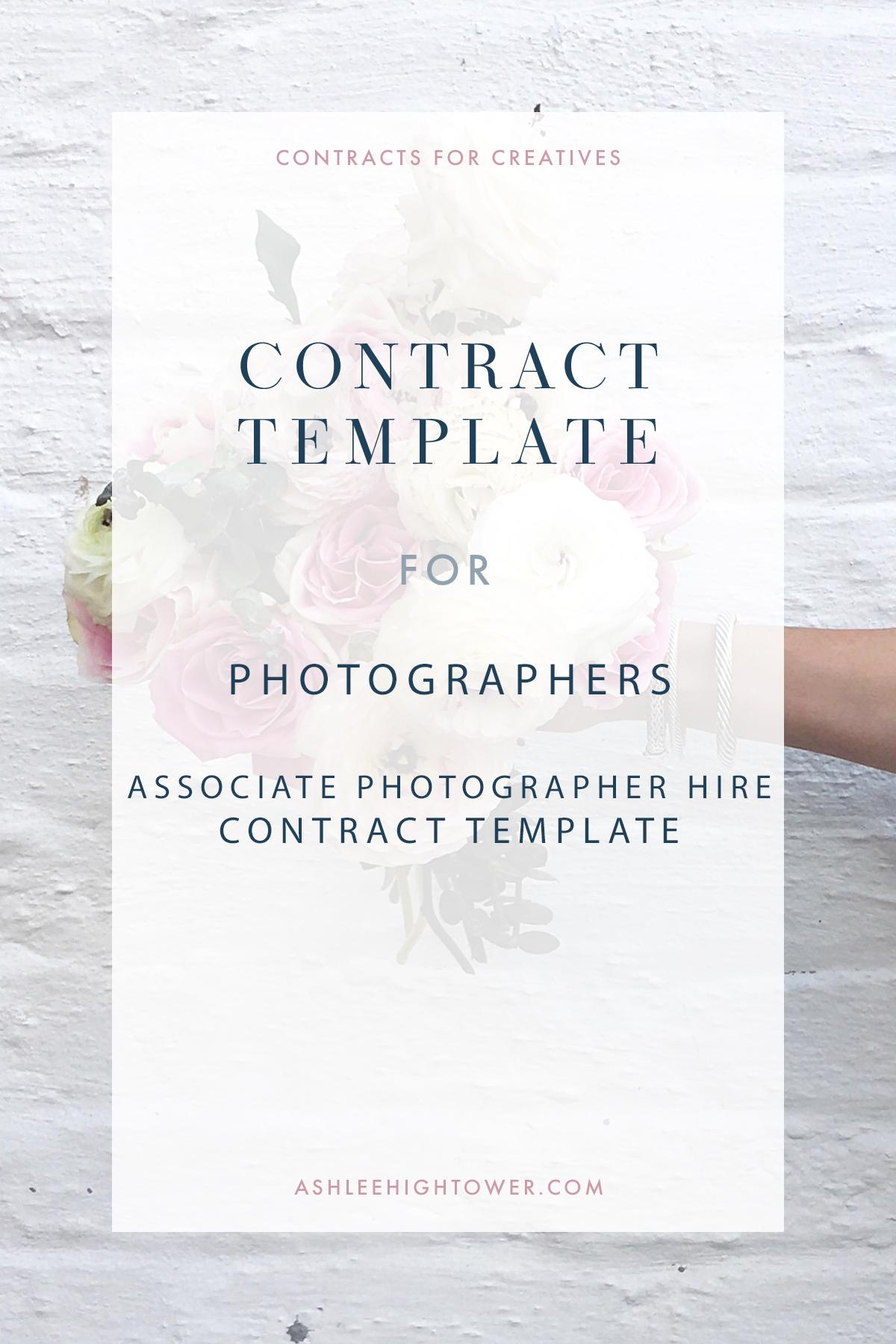 Associate Photographer Contract Template